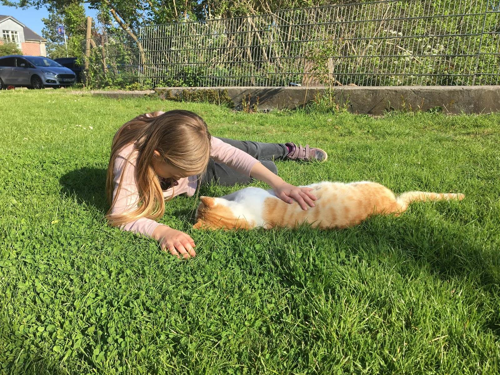 Maedchen mit Katze auf Fehmarn